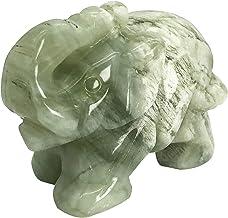 تمثال صغير لفيل منحوت باليد من فافافافاميوليت أخضر فاتح منحوت باليد تمثال شفاء تمثال نصفي 1.5 بوصة