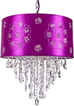1 Light Crystal Pendant Chandelier Light Fixture in Chrome Finish with Purple Shade and Clear European Crystal 7035-001