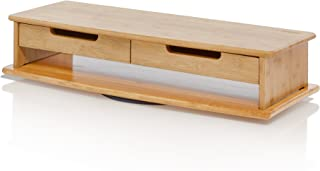 """Prosumer's Choice Bamboo Swivel TV/Monitor Stand with Removable Base and Dual Pull-Out Drawers – Extra Long 30"""""""