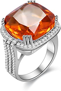 Uloveido Platinum Plated Big Princess Square Orange Stone Cocktail Ring for Women and Men with Cubic Zirconia Size 6 7 8 9...