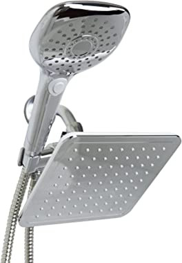 Home Basics, Silver 5 Function Dual Shower Massager with Rainfall Head Set