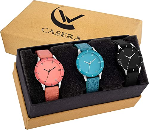 Analog Multi Color Leathers Strap Pack of 3 Combo Watch for Girls and Women Watch