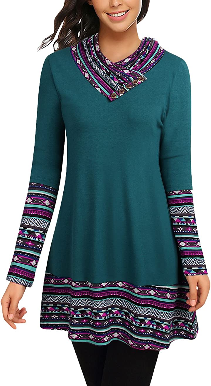 Cowl Neck Tunics Long Sleeve Max 65% OFF A-Lin Form Patchwork Casual Fitting NEW before selling ☆