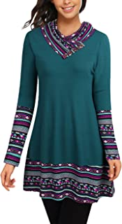 Cowl Neck Tunics Long Sleeve Patchwork Form Fitting Casual A-Line Top Blouse
