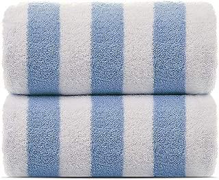 Towel Bazaar 2-Pack Turkish Cotton Cabana Striped Beach/Pool/Bath Towel (Blue, 30