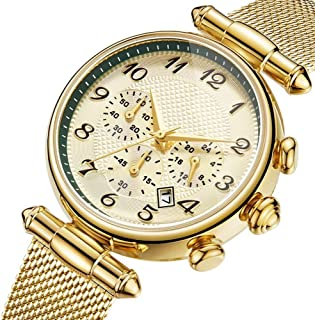 Waterproof Watch Blue Rose Gold Copper Woman Girl Lady Multifunction Quartz Watch 35mm Stainless Steel Strap Diminished Three-Pie Calendar Fashion Raincoat 3ATM Student Decoration 3ATM