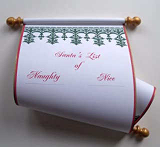 Santa's List of Naughty or Nice wide scroll, 8x19 inch white cotton paper, blank for hand written list, Nordic design, with red storage tube