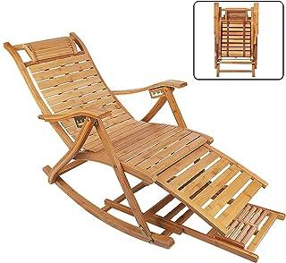 UKMASTER Silla Mecedora de Jardín, Silla Tumbona Bambú, Sillón Reclinable de Bambú, Plegable, co