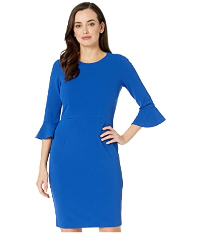 Donna Morgan 3/4 Sleeve Crepe Sheath Dress with Bell Sleeve (Cornflower) Women