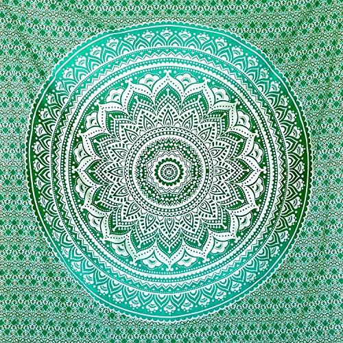 momomus Tapiz Mandala Colorido - 100% Algodón, Grande, Multiuso - Tapices de Pared Decorativos Ideales para la Decoración del Hogar, Habitación o Salón - Verde, 210x230 cm