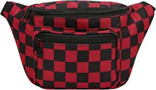 Fanny Pack [80's Style] Waist Pack Outdoor Travel Crossbody Hip Bag (Black&Red)