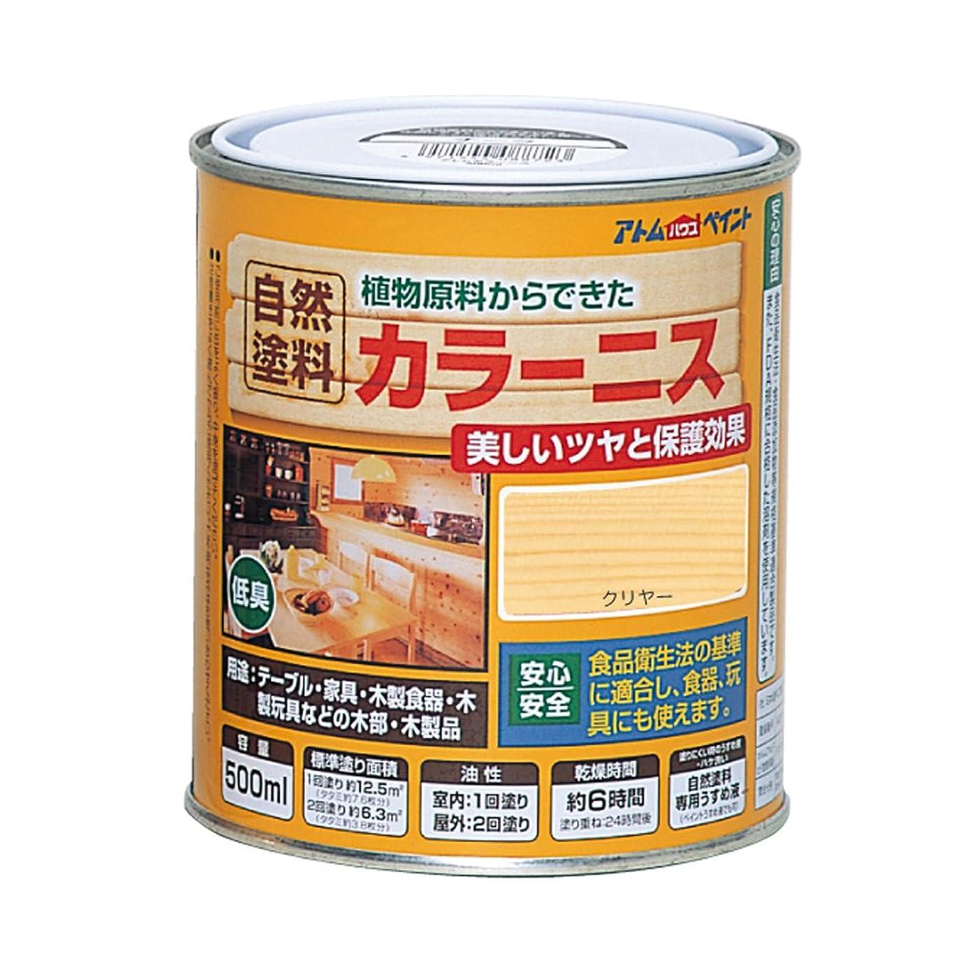 かんたん亡命パネルアトムハウスペイント 油性カラーニス(天然油脂ニス) 500ML クリヤー