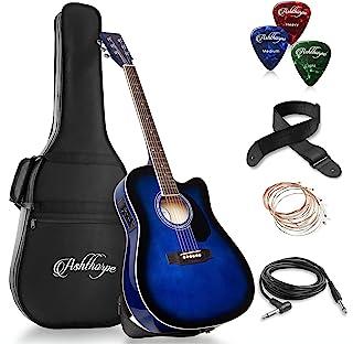 Ashthorpe Full-Size Cutaway Thinline Acoustic-Electric Guitar Package – Premium..