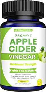 Organic Apple Cider Vinegar Capsules for Weight Loss & Detox with Lemon Powder, Inulin & Cayenne Pepper - All Organic Supp...