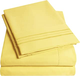 1500 Supreme Collection Bed Sheets Set - Premium Peach Skin Soft Luxury 4 Piece Bed Sheet Set, Since 2012 - Deep Pocket Wrinkle Free Hypoallergenic Bedding - Over 40+ Colors - Full, Yellow