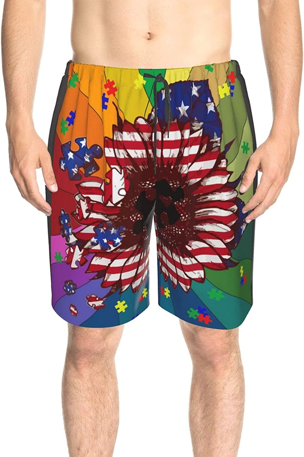 JINJUELS Mens Bathing Suits American Flower Flag Puzzle Swim Board Shorts Quick Dry Cool Swimwear Bathing Suits with Lining