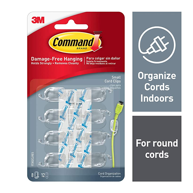 Command Cord Clips, 8 clips, 12 strips, Indoor Use (17302CLRES)
