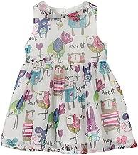 Weixinbuy Kids Girls Chiffon Birds Printed Sleeveless Summer Dress