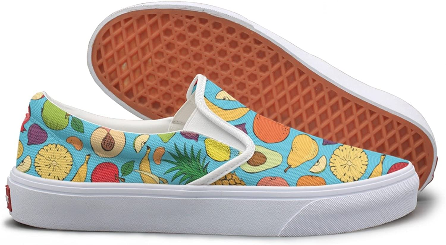 Lalige colord Fruits Doodle Pineapple Avocado Women Cute Canvas Slip-ons Walking shoes