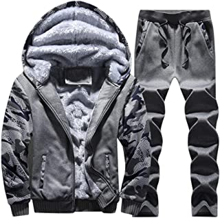 Zackate Men's Pullover Winter Workout Fleece Hoodie Jackets and Pants Sets Full Zip Wool Warm Thick Coats Trousers
