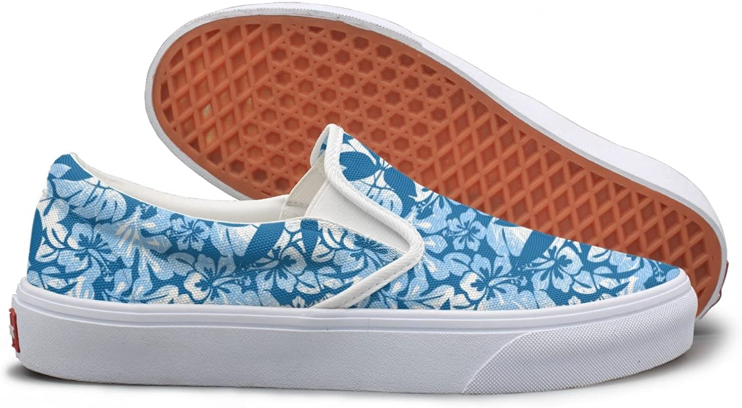 bluee Tropical Casual Sneakers For Women Slip On