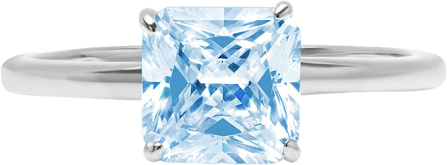 1.95ct Brilliant Asscher Cut Solitaire Natural Swiss Blue Topaz Ideal VVS1 4-Prong Classic Designer Statement Ring Solid Real 18k White Gold for Women