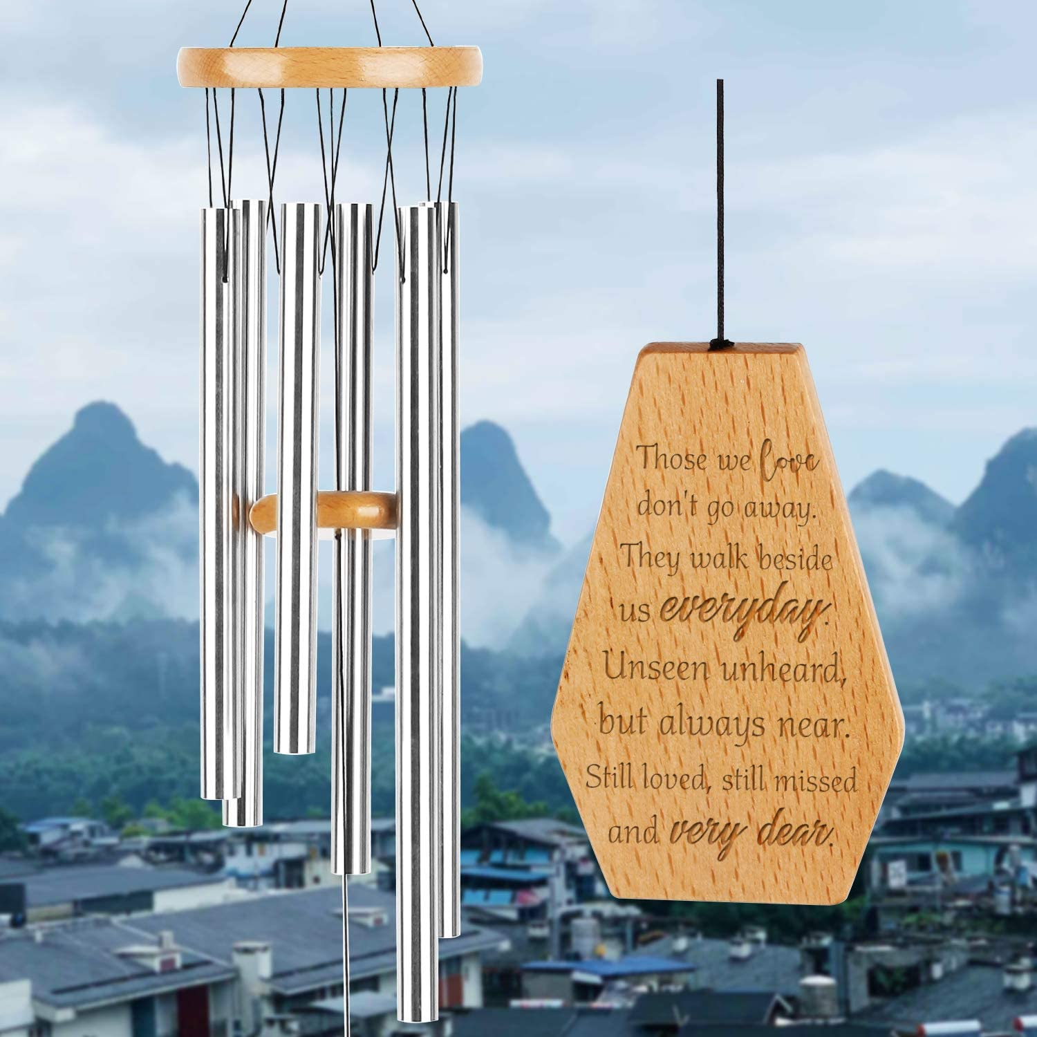 Wind Chimes Outdoor Deep Tone, 32.5 Inch Memorial Wind Chime, Wind Chimes with 6 Tuned Silver Tubes, In Memory of, Elegant Chime for Garden, Patio, Balcony and Home, Wind Chimes for Mom, Father,