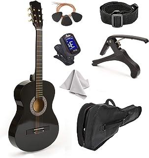 Guitarra de madera negra de 76 cm con funda y accesorios, pa