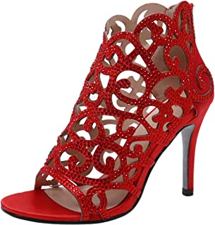 Stupmary Women Pumps Bridal Shoes Crystal High Heels Rhinestone Cut-Outs Zip Thin Heels Wedding Shoes Red Size: 10 US