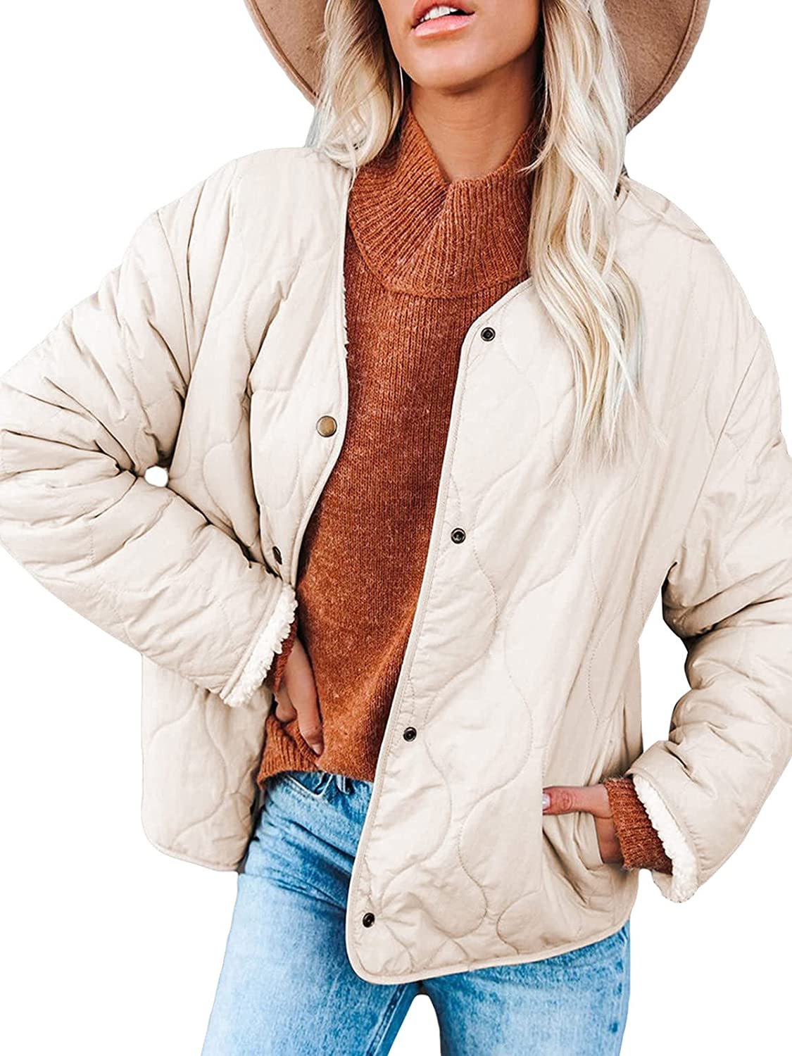 SHIBEVER Women's Winter Long Sleeve Quilted Light Weight Jacket Button Down Warm Coat Outerwear with Pockets