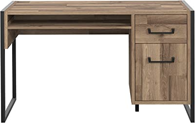 FORTE Schreibtisch, Büro, in Stabeiche Dekor kombiniert mit Betonoptik und umrahmt mit schwarzen Metallstreben