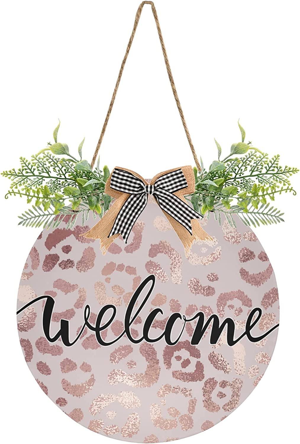 xigua Rose Gold Leopard Front Door Hanging Welcome Sign Decor Daily bargain sale We latest