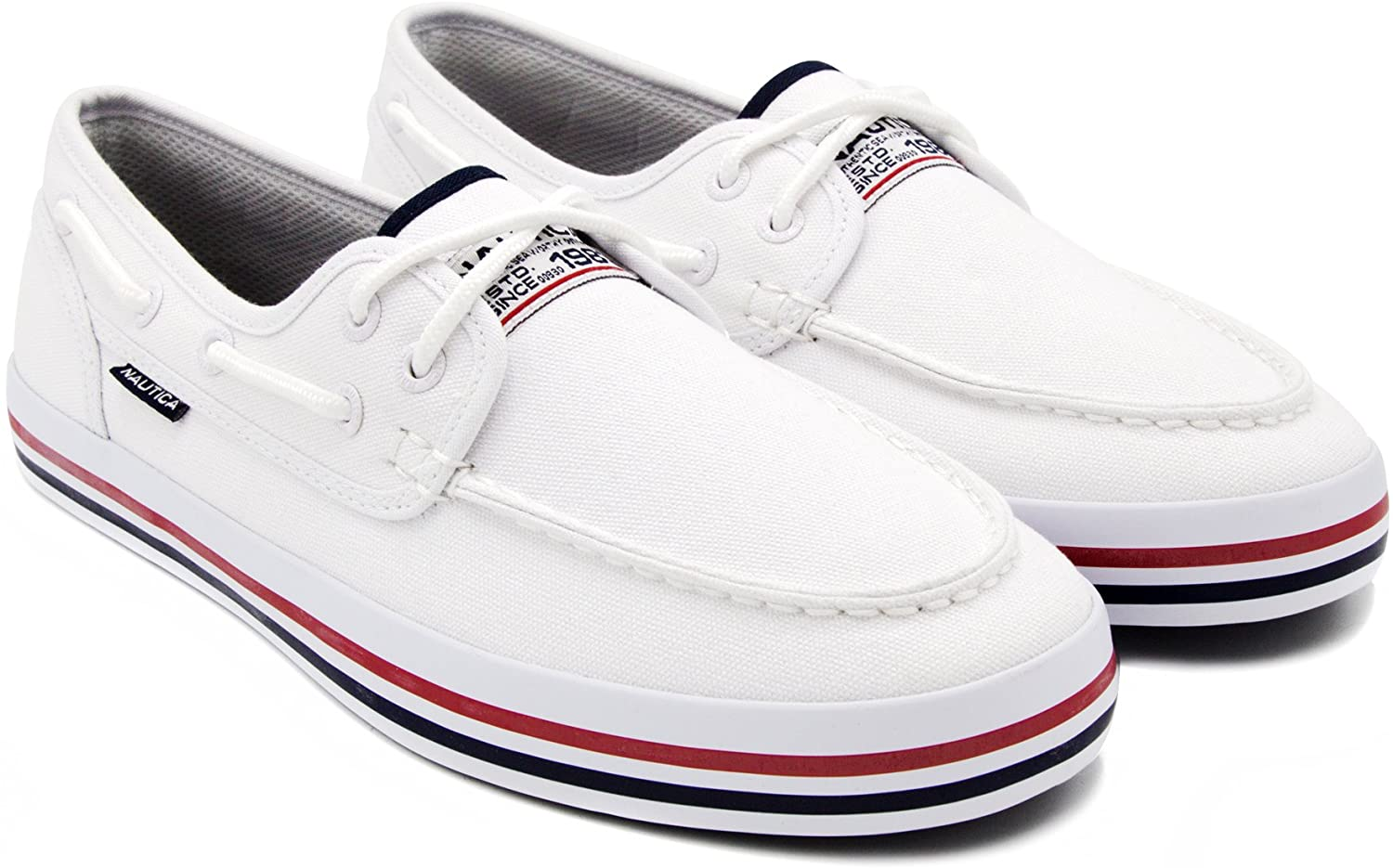 Nautica Men's Spinnaker Lace-Up Boat shoes, Casual Loafer, Fashion Sneaker-White Heritage-9.5