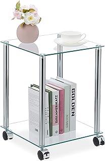 Relaxdays Beistelltisch Mesa Auxiliar con Ruedas (2 estantes, Cuadrada, Cristal y Acero), Color Transparente y Plateado, P...