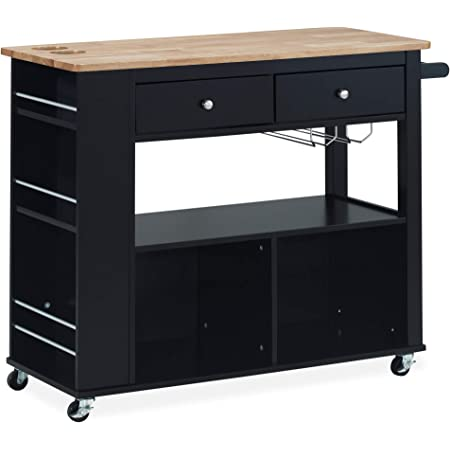 Christopher Knight Home Deborah Kitchen Cart with Wheels, Black, Natural