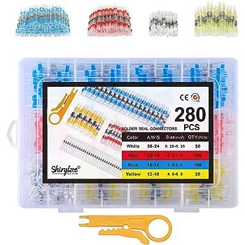 Shirylzee 280PCSJuego conectores cable conector termorretráctil con 4 tamaños,Impermeable conectores termocontraibles eléctrica, relación de contracción 2: 1, con tijeras