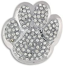 PinMart Silver Rhinestone Animal Paw Print School Mascot Brooch Pin