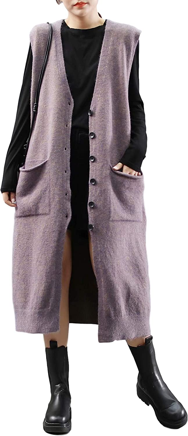 Uaneo Womens Knitted V-Neck Button Down Sleeveless Longline Cardigan Sweaters