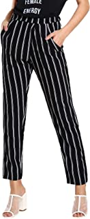 Women's Striped Elastic High Waist Slim Fit Loose Casual Long Pants