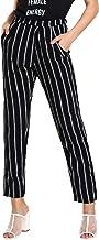 SweatyRocks Women's Striped Elastic High Waist Slim Fit Loose Casual Long Pants