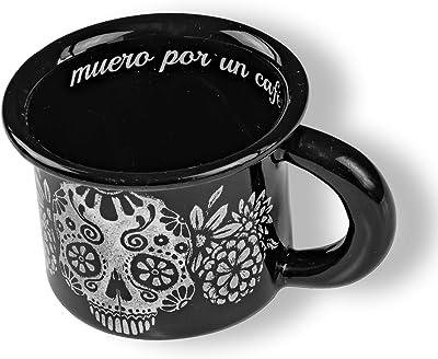 Pelter Mug for Expresso (5 cm x 5 cm), Black Skull Mexican Design, Designed by Mexican Artist (Maritza Morillas)