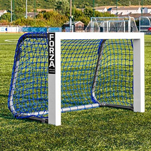 FORZA Alu Mini Ziel Fußballtor │ tragbar und zusammenfaltendes Design │ blau und schwarz Netz Optionen erhältlich (Blaues Netz)