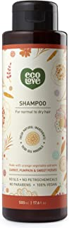 ecoLove Natural Shampoo for Normal to Dry Hair with Organic Carrot Pumpkin and Sweet Potato, Vegan Shampoo for Women and Men SLS Paraben and Cruelty Free,17.6 oz