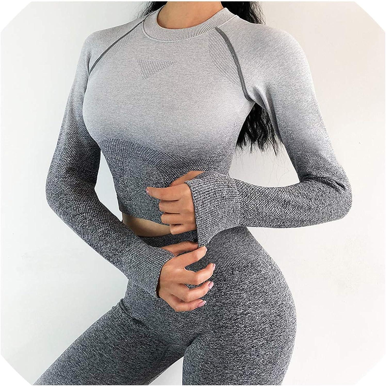WBeauty 2 Pcs Yoga Set for Women Long Sleeve Sport Leggings,Dark Grey Suit,S