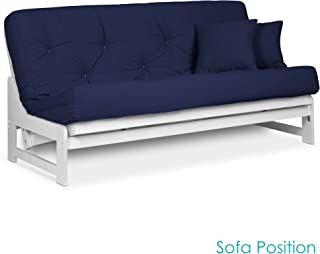 Nirvana Futons Arden White Futon Set Full or Queen Size - Armless Wood Futon Frame with Mattress Included (Twill Navy Blue), More Mattress Colors Available, Space Saving Modern Sofa Bed Sleeper