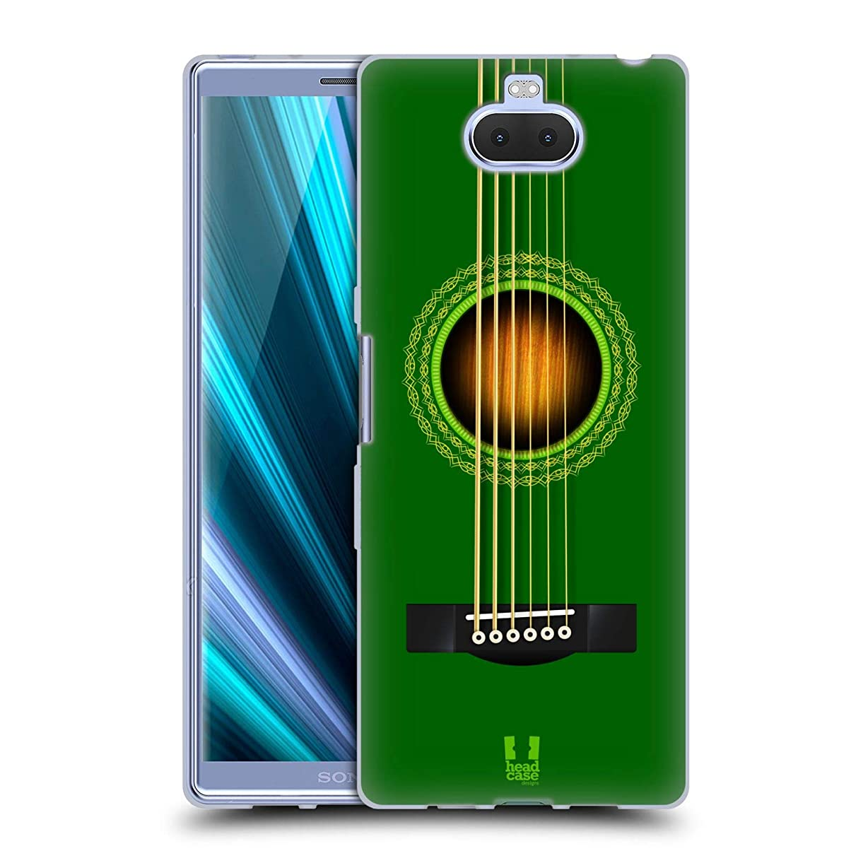Head Case Designs Green Acoustic Guitar Soft Gel Case for Sony Xperia XA3 Ultra / 10 Plus hoqks0317