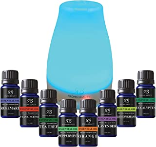 Aromatherapy Top 8 Essential Oil and Diffuser Gift Set - Pep