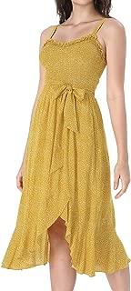 Womens Summer Ruffle Smocked Pockets Casual Beach Swing A-Line Midi Dress