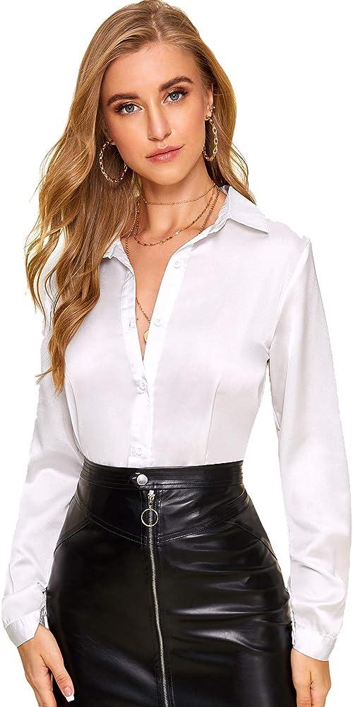 Soly hux, camicia da donna in raso con bottoni, camicetta a maniche lunghe, fluida ed elegante,100% poliestere 00190703417-15-3-S