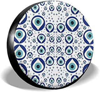 SGHGSAxbh Evil Eye Watching You Tire Cover Potable Polyester Universal Spare Wheel Tire Cover Wheel Covers for Jeep Trailer RV SUV Truck Camper Travel Trailer Accessories(14,15,16,17 Inch)